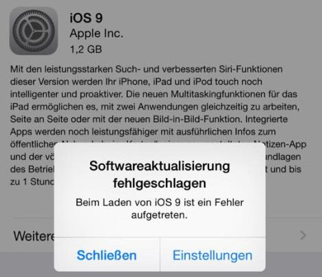 iOS 9/9.3.5 Probleme: Softwareaktualisierung fehlgeschlagen