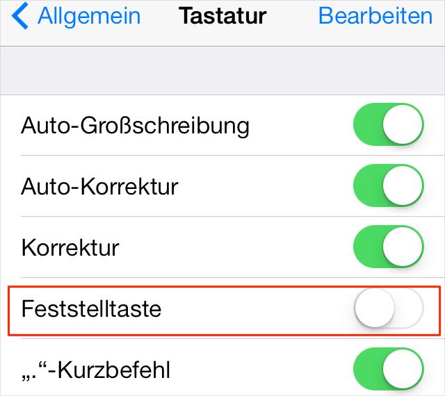 iOS 9 Probleme: Feststelltaste aktivieren