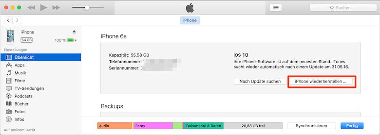 iOS 10/10.3/10.3.2 Downgrade: iPhone wiederherstellen – Schritt 4