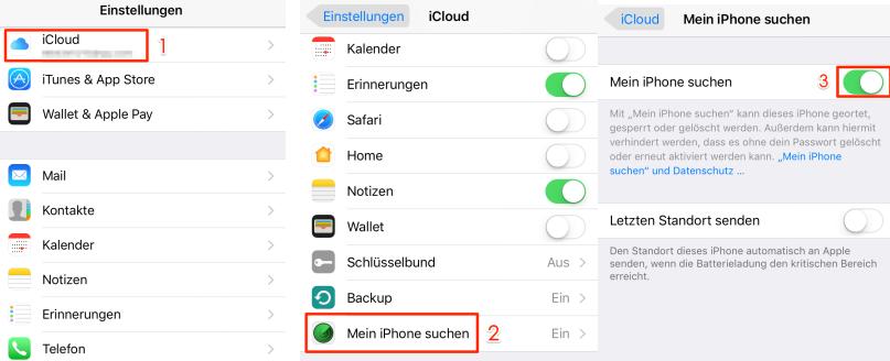 """""""Mein iPhone suchen"""" aktivieren – von iOS 11/11.1 auf iOS 10– Schritt 2"""