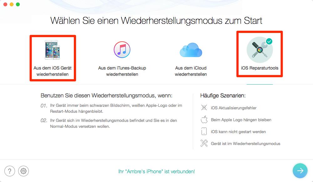 Das Wiederherstellungstool für iOS-Gerät