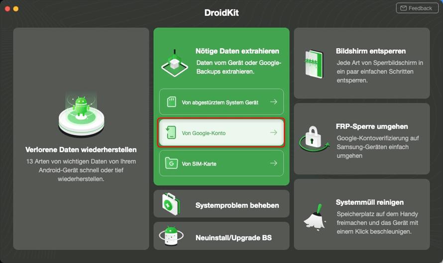DroidKit zur Datenrettung aufrufen