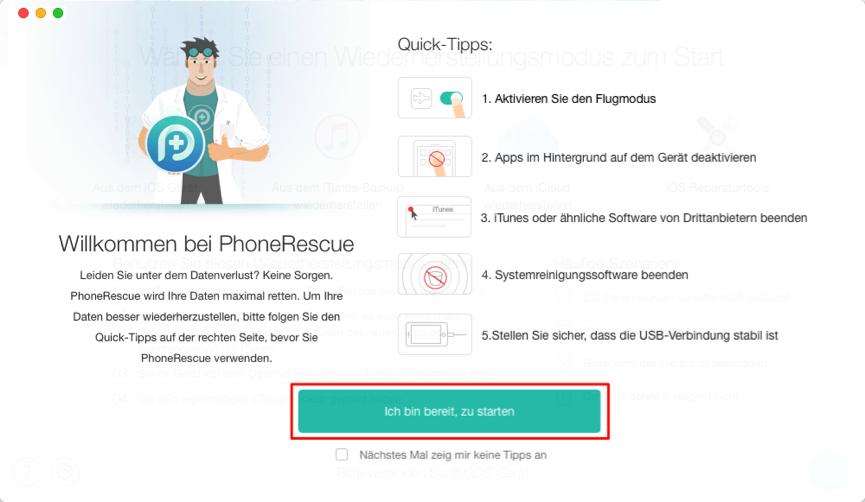 Wiederherstellungstool – PhoneRescue auf Ihrem Computer öffnen – Schritt 1