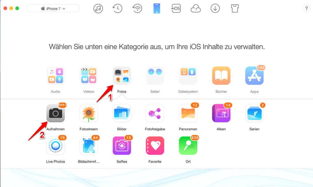HEIC Fotos vom iOS 11 exportieren – Schritt 2