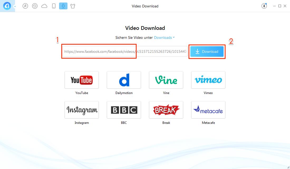 Facebook Videos suchen und Export-Pfad auswählen – Schritt 2