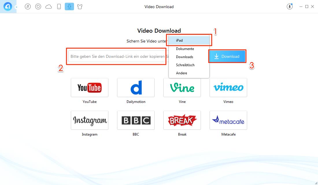 Ziel-Gerät auswählen und Videos mit AnyTrans suchen - Schritt 2