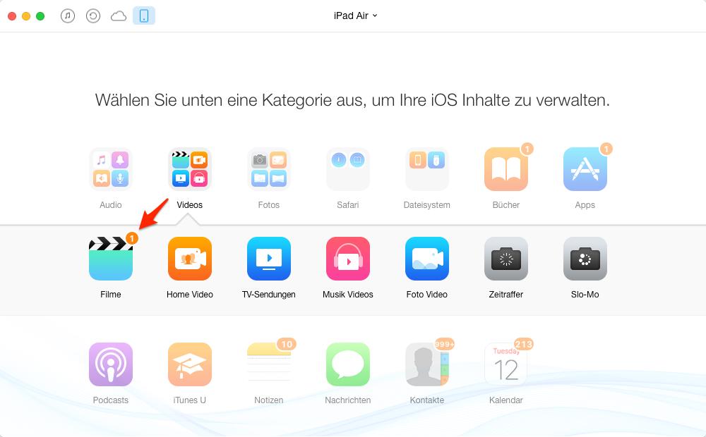 Filme vom iPad Air auf Computer übertragen – Schritt 2