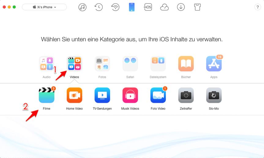 Filme von iPhone auf iPad selektiv übertragen – Schritt 2