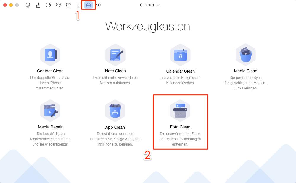 PhoneClean öffnen und Werkzeugkasten wählen – Schritt 1