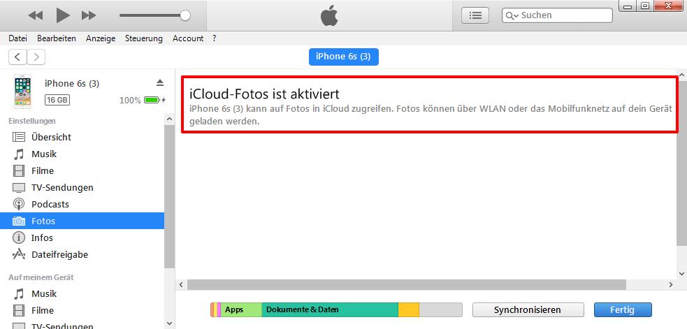 Fotos auf iPhone übertragen – iCloud Fotos aktiviert