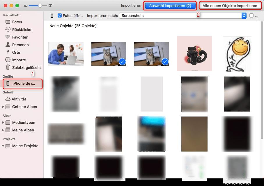 Fotos auf Mac importieren über Fotos