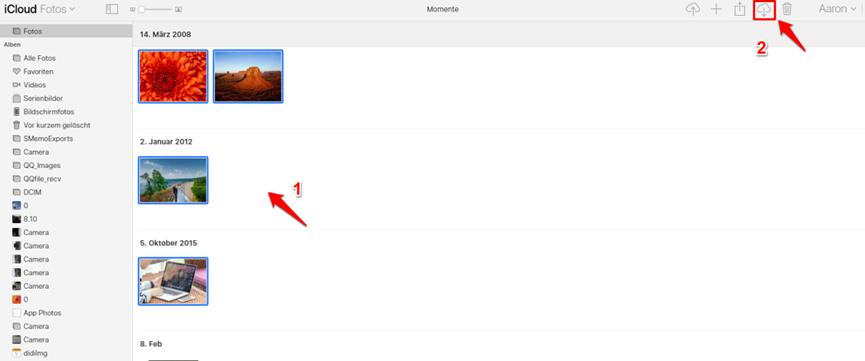 Fotos in iCloud laden – Fotos auf PC downloaden