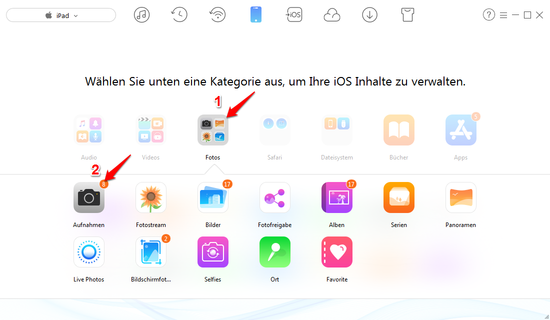 Bilder vom iPad auf iPhone 7 - Schritt 2