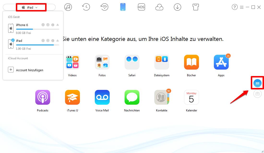 Fotos vom iPad auf iPhone – Schritt 1