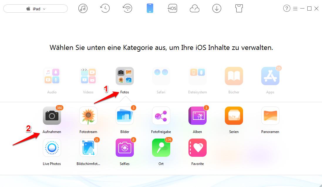 Fotos vom iPad aufs iPhone – Schritt 2