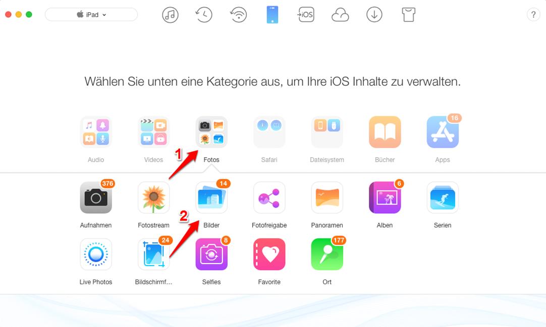 Fotos von iPad direkt und selektiv übertragen – Schritt 2
