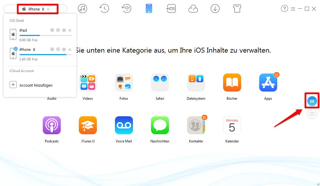 Fotos vom iPhone X/8/7 auf iPad übertragen – Schritt 1