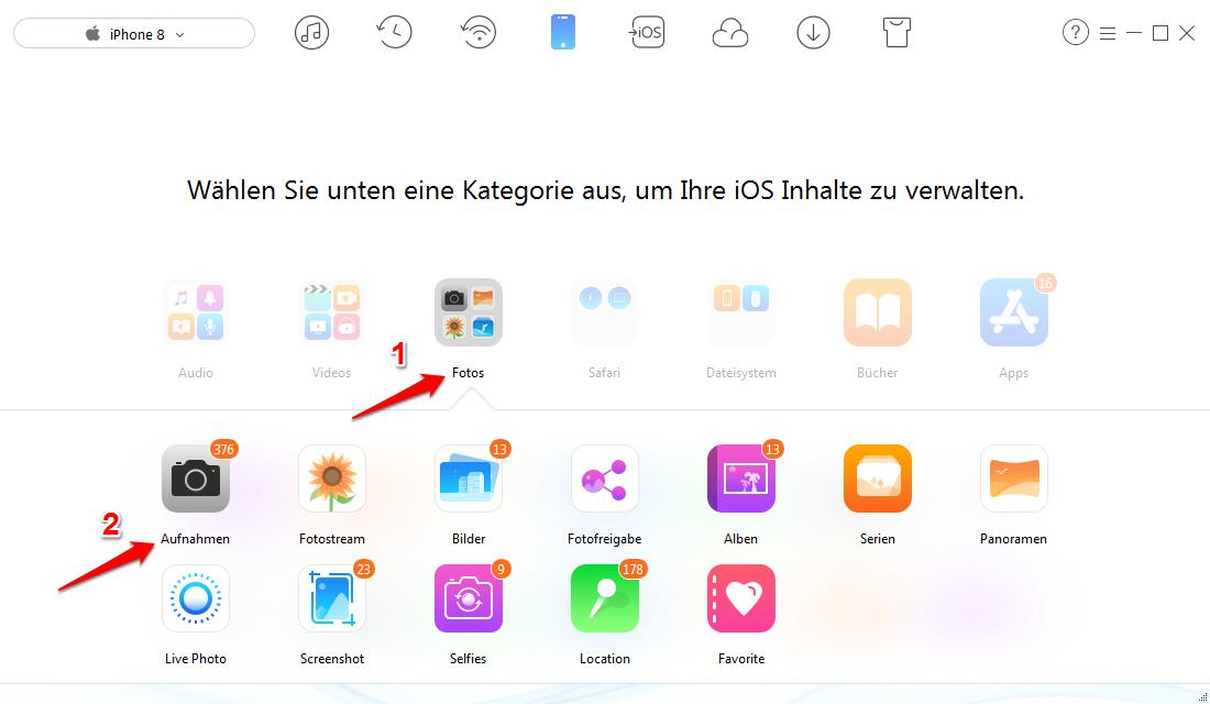 Bilder vom iPhone X/8/7 auf iPad übertragen ohne iCloud – Schritt 2