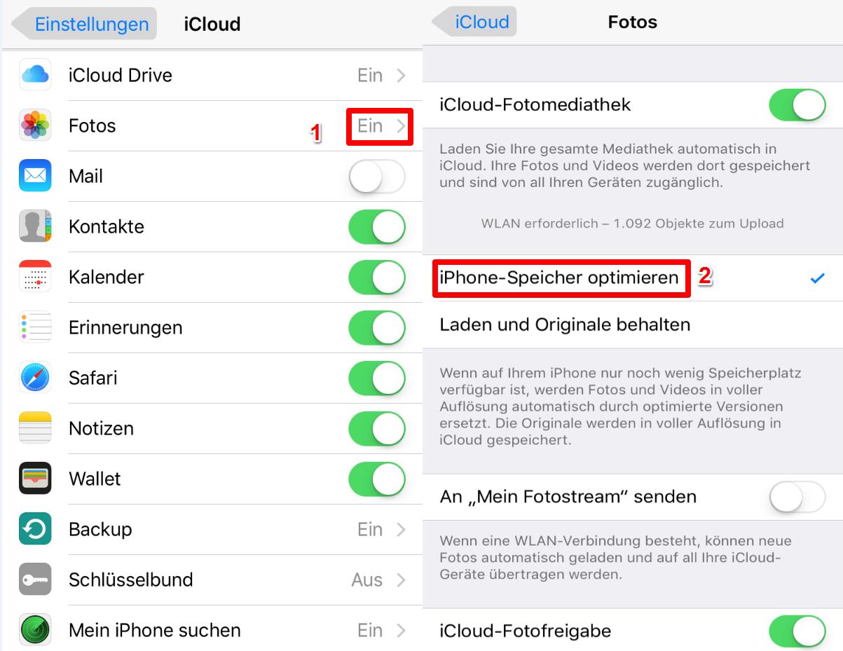 Fotos vom iPhone X/8/7 (Plus) auf iPad mit iCloud übertragen