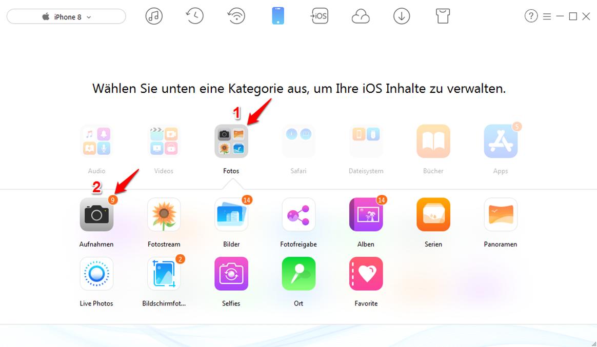 Bilder vom iPhone 7 auf PC – Schritt 2