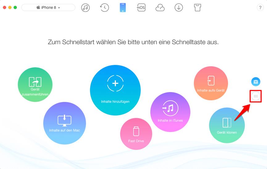 Fotos vom iPhone X/8 auf Mac – Schritt 1