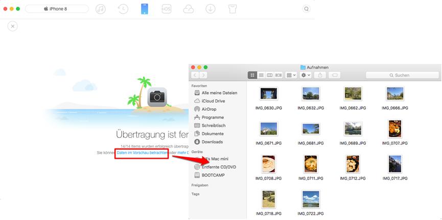 Fotos vom iPhone X/8 auf Mac übertragen – Schritt 4