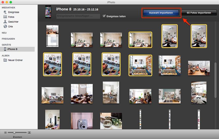 Bilder vom iPhone X/8 auf Mac – iPhoto verwenden