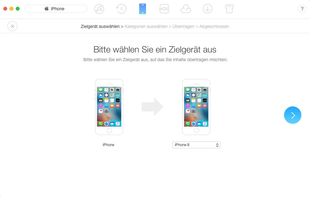 Bilder vom alten iPhone auf iPhone 8 übertragen - Schritt 2