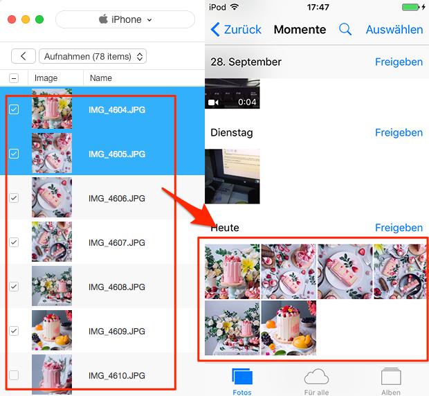 Fotos vom iPhone auf iPhone X/8 fertig übertragen - Schritt 4