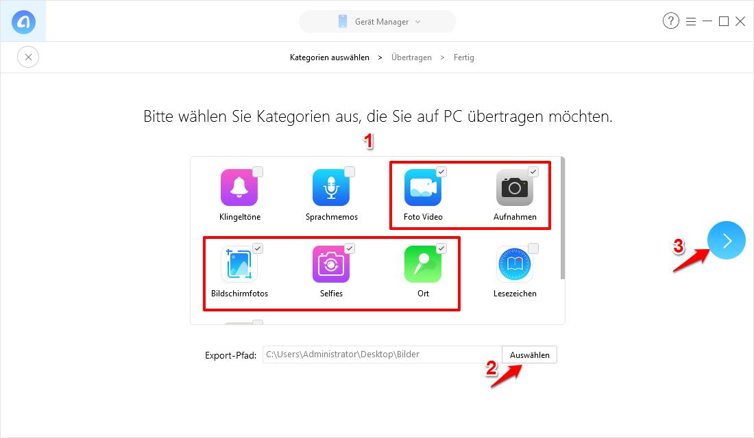 1-Klick – Alle Fotos vom iPhone auf PC Windows 10 – Schritt 2