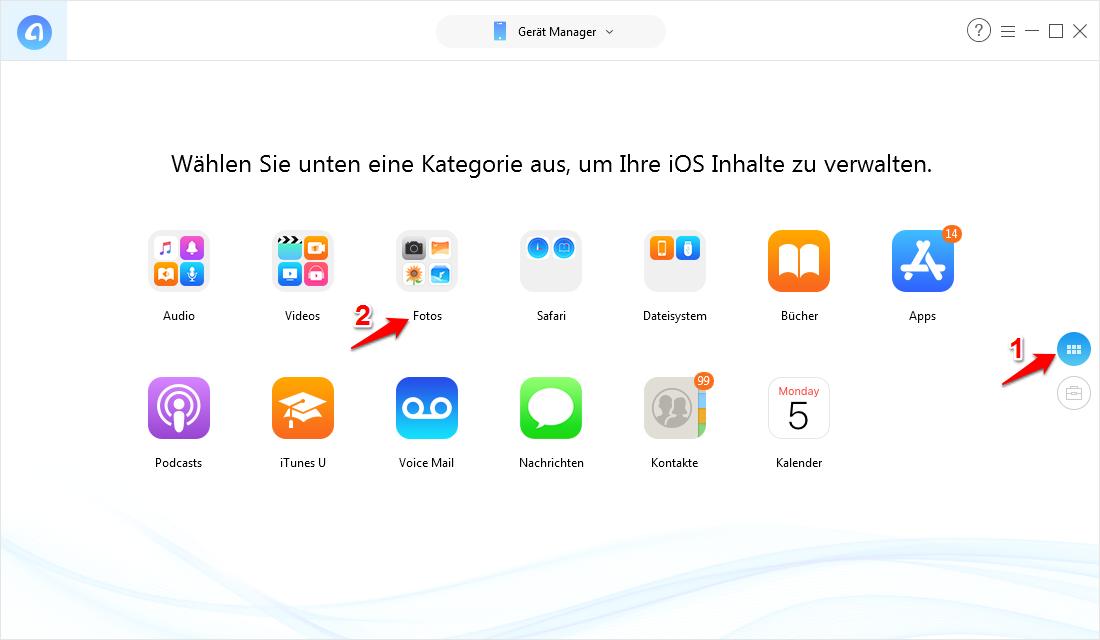 Teilweise Fotos vom iPhone auf PC Windows 10 – Schritt 1