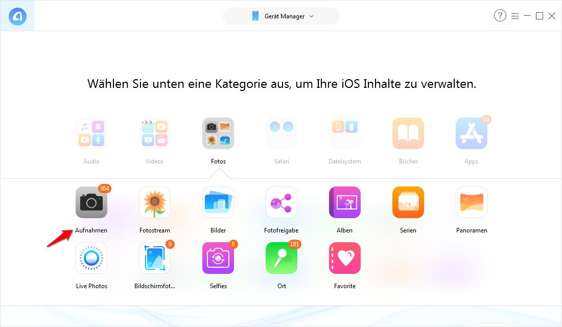 Einzelne Fotos vom iPhone auf PC Windows 10 – Schritt 2