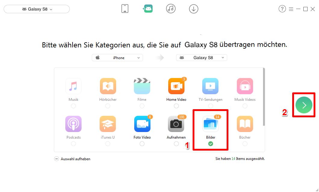 Fotos vom iPhone auf Samsung übertragen - Schritt 2