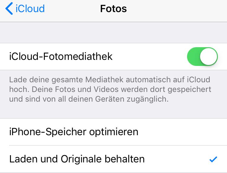 Fotos nur vom iPhone löschen - iCloud-Fotomediathek deaktivieren