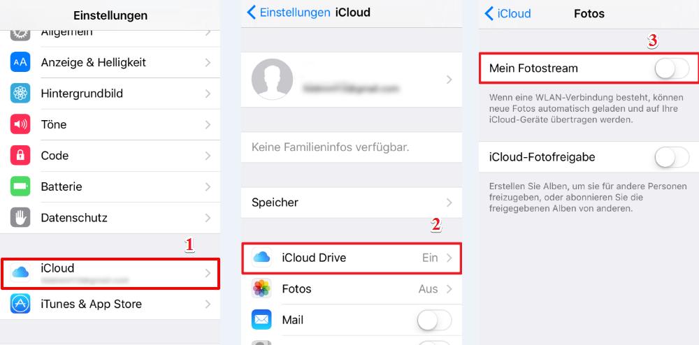 Fotos vom iPhone X auf iPad mit iCloud übertragen