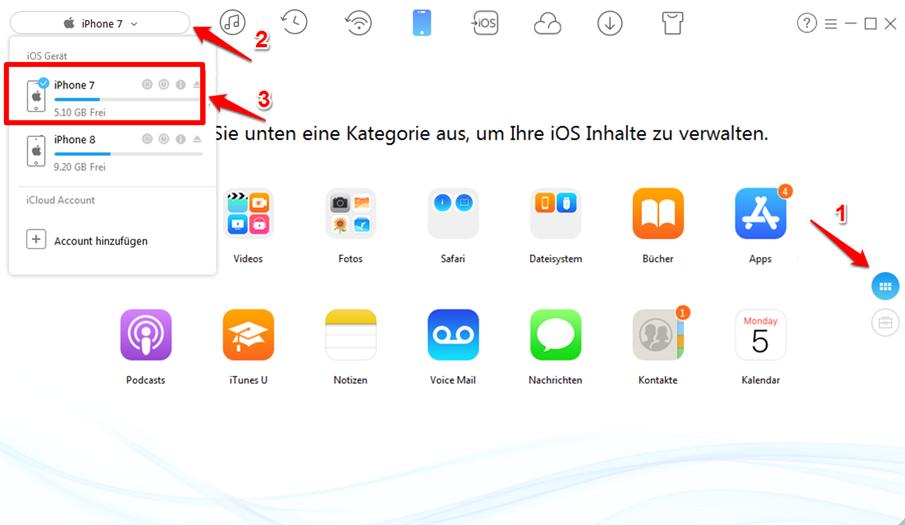 Fotos vom iPhone X auf iPad direkt übertragen - Schritt 1