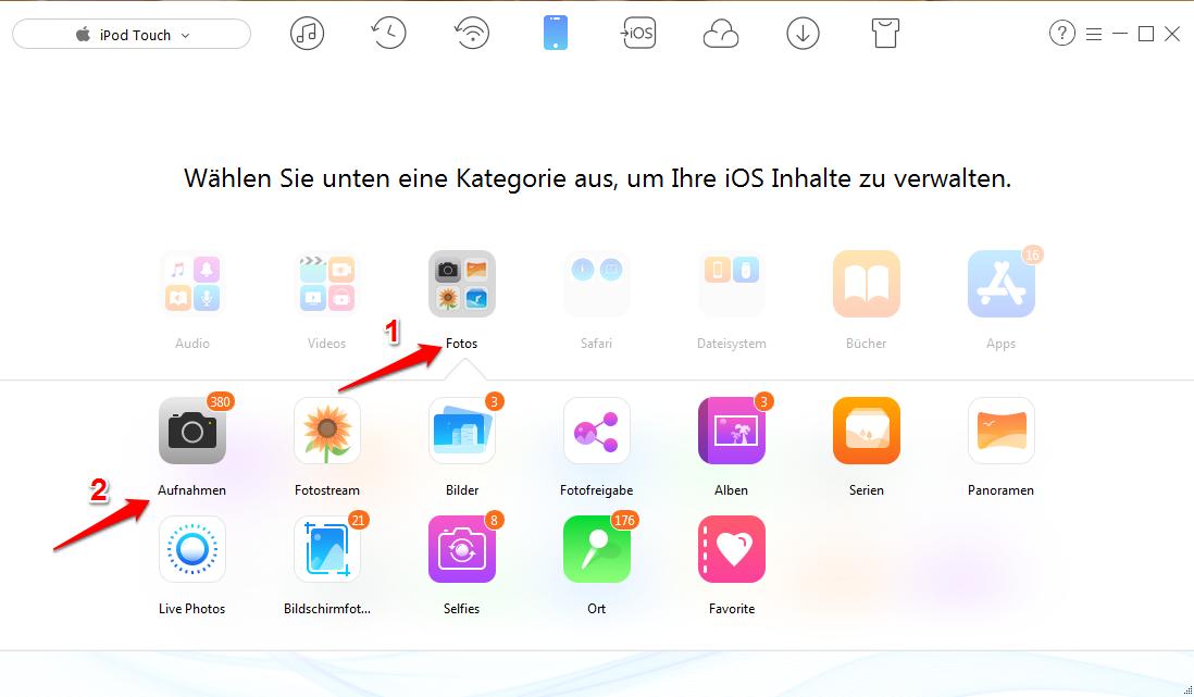 gewählte Fotos vom iPod auf den Computer übertragen – Schritt 2