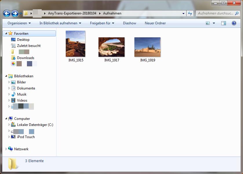 Fotos vom iPod auf Computer