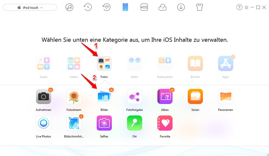 Fotos vom iPod Touch auf PC übertragen - Schritt 2