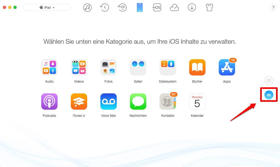Fotos vom Mac auf iPad übertragen – Schritt 1