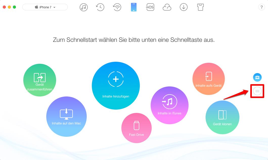 Fotos vom Mac auf iPhone 7 übertragen – Schritt 1