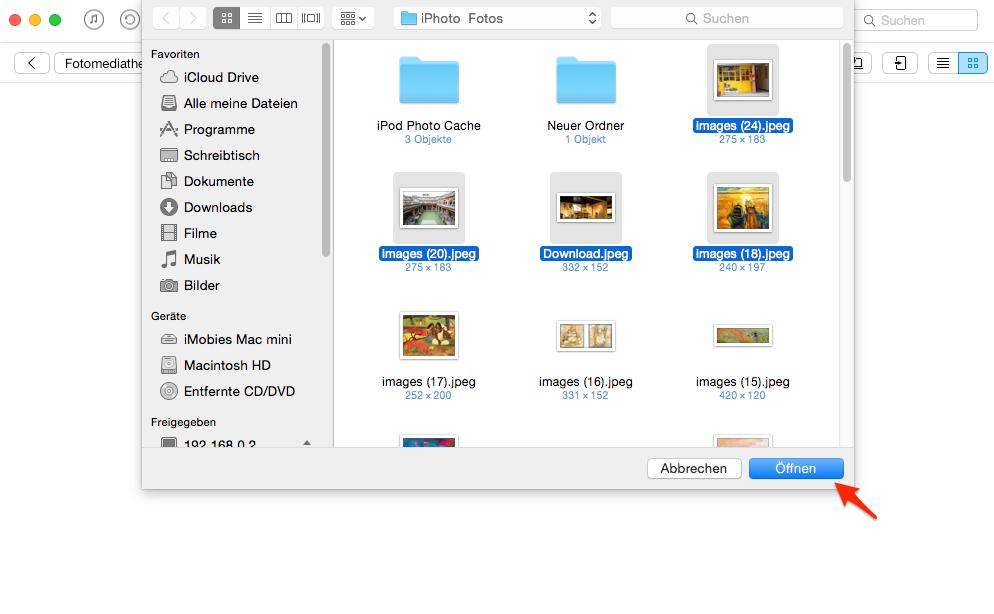 Fotos vom Mac auf iPhone 7 übertragen - Schritt 2