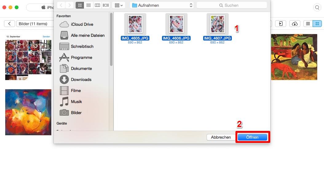 Fotos vom Mac auf iPhone ohne iTunes übertragen – Schritt 3