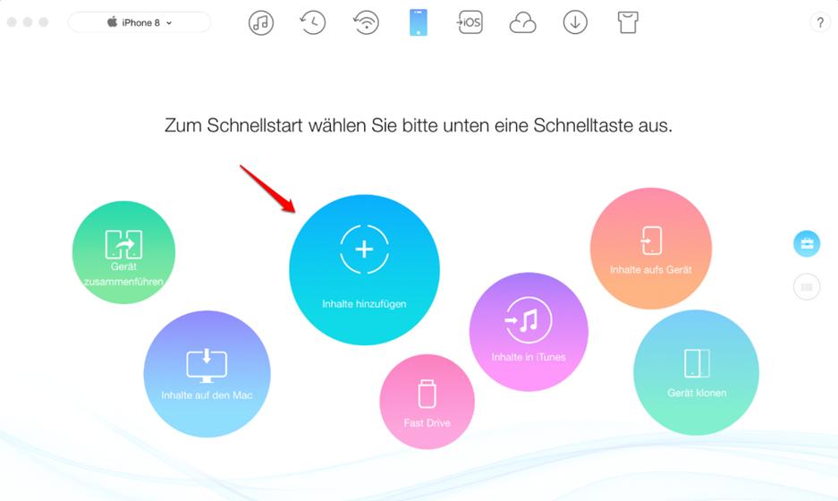 Fotos vom MacBook auf iPhone – Schritt 1