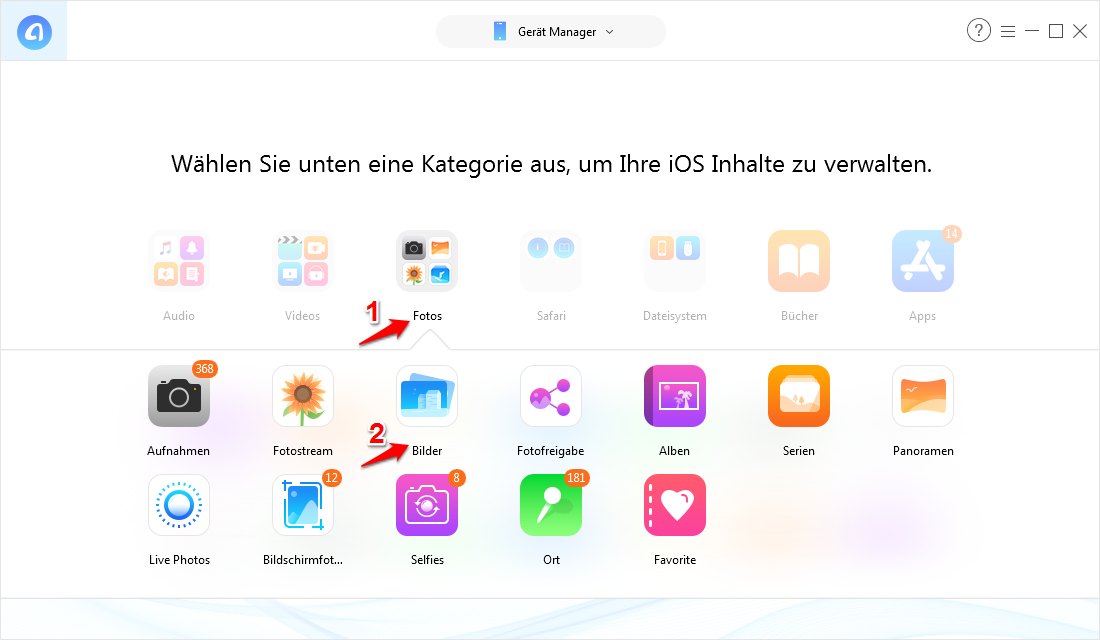 Fotos vom PC auf iPad ohne iTunes übertragen - Schritt 3