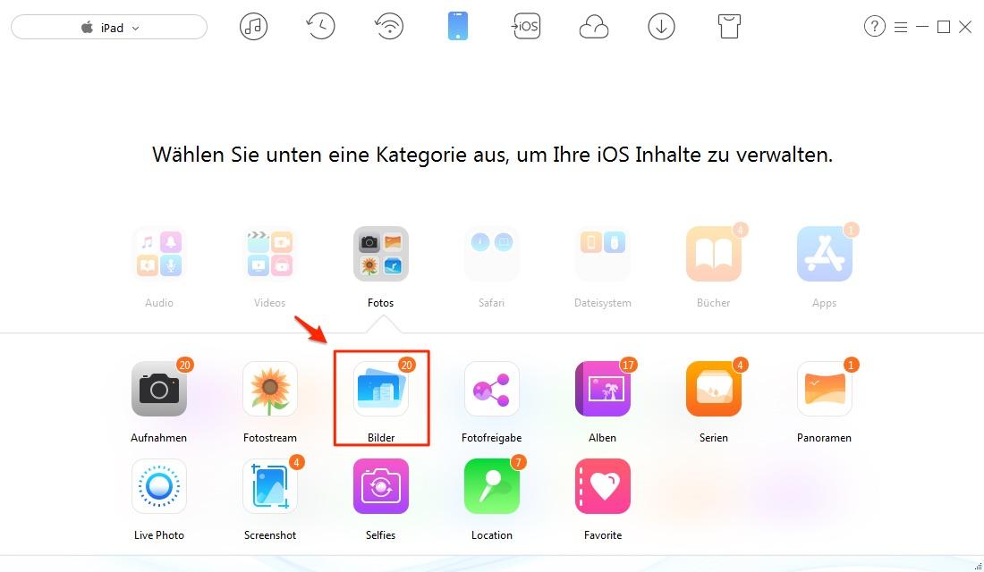 Fotos vom PC auf iPad übertragen – Schritt 1