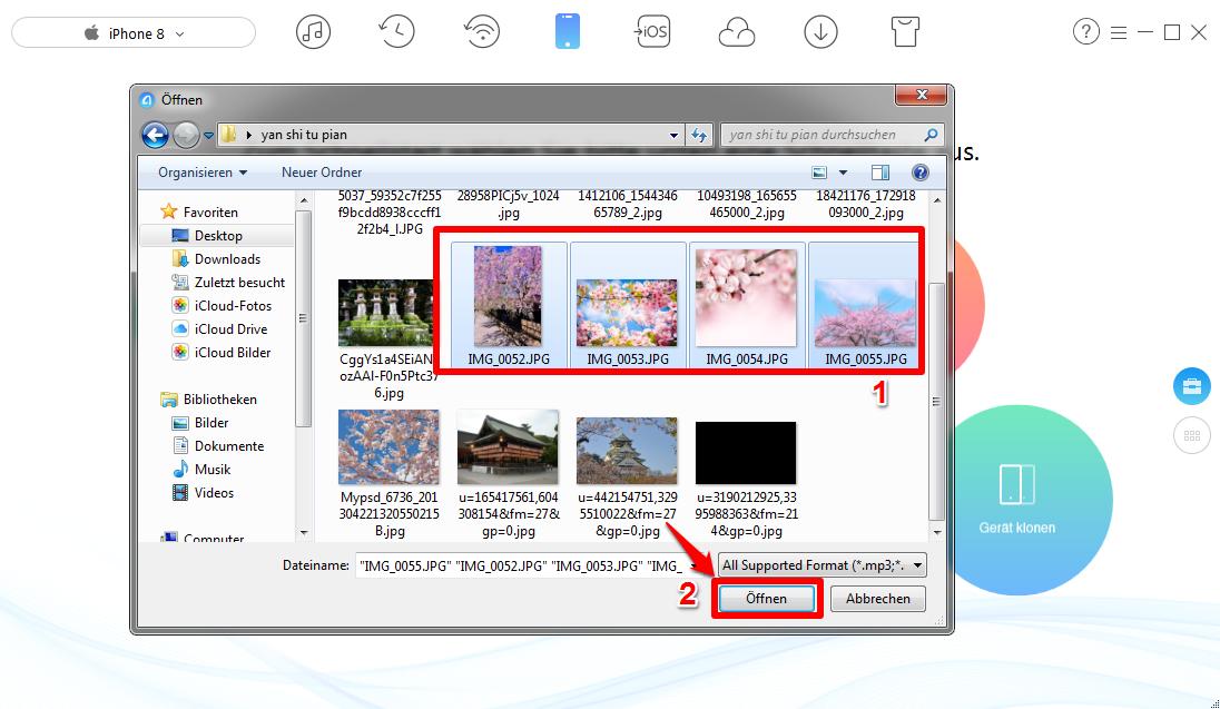 Fotos vom PC auf iPhone 8 übertragen - Schritt 2