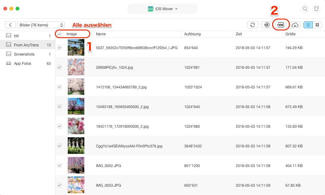 Fotos & Bilder von Android auf iPad übertragen - Schritt 3
