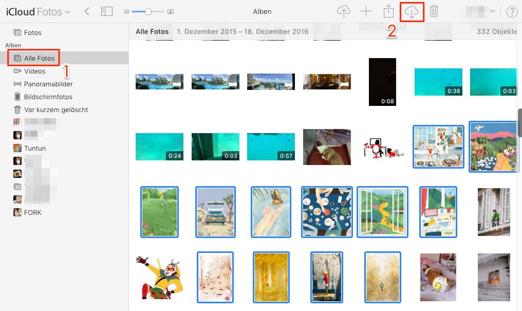 icloud mehrere fotos markieren und