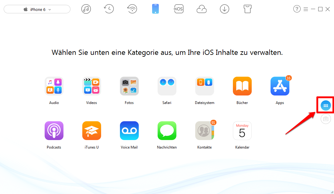 Fotos vom iPhone 6 auf Computer – Schritt 1